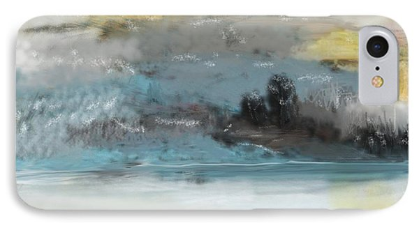 Cold Day Lakeside Abstract Landscape Phone Case by David Lane