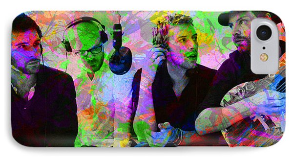 Coldplay Band Portrait Paint Splatters Pop Art IPhone Case by Design Turnpike