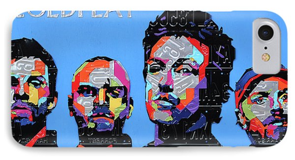 Coldplay Band Portrait Recycled License Plates Art On Blue Wood IPhone 7 Case