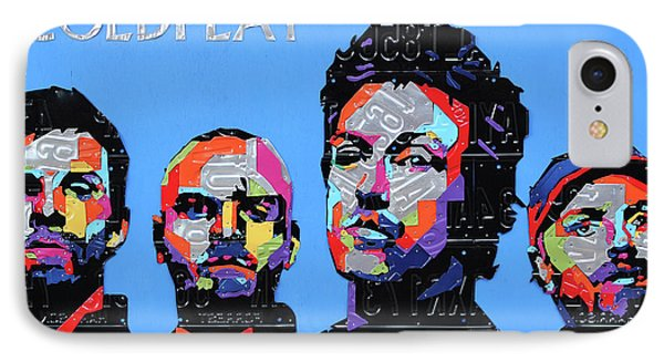 Coldplay Band Portrait Recycled License Plates Art On Blue Wood IPhone Case