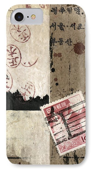 IPhone Case featuring the mixed media Collage Envelope Detail Hanko by Carol Leigh