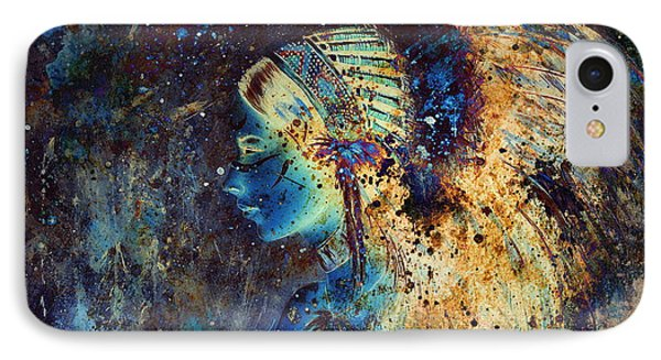 Collage Painting Of A Young Indian Wcollage Painting Of A Young Indian Woman Wearing A Gorgeous Feat IPhone Case by Jozef Klopacka