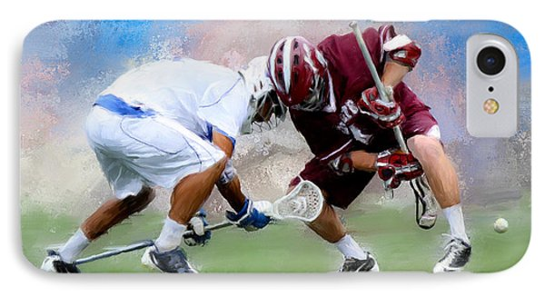 College Lacrosse Faceoff 4 IPhone Case by Scott Melby