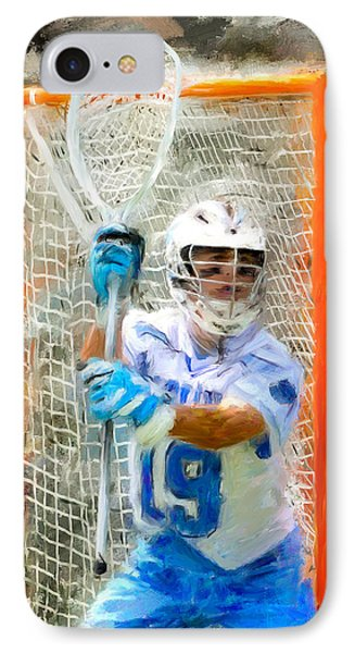 College Lacrosse Goalie IPhone Case by Scott Melby