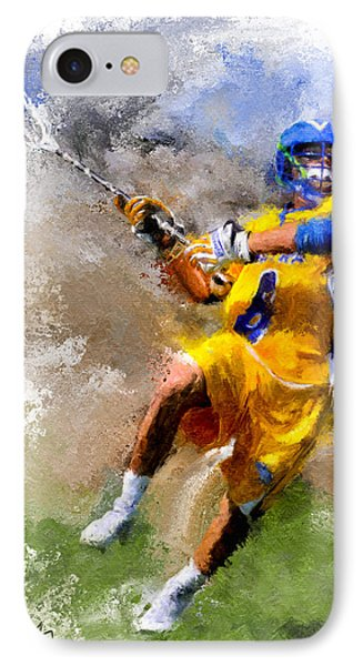 College Lacrosse Shot IPhone Case by Scott Melby