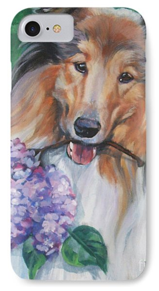 Collie With Lilacs Phone Case by Lee Ann Shepard
