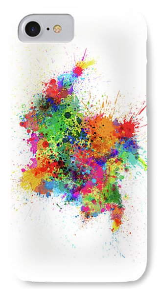 South America iPhone 7 Case - Colombia Paint Splashes Map by Michael Tompsett