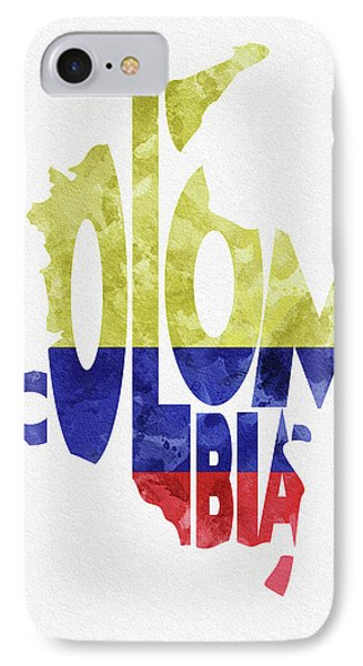Colombia Typographic Map Flag IPhone Case