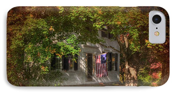 Colonial Home With Flag In Autumn IPhone Case