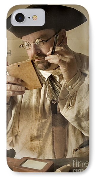 Colonial Man Shaving IPhone Case by Kim Henderson
