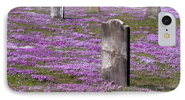 Colonial Tombstones Amidst Graveyard Phlox Phone Case by John Stephens