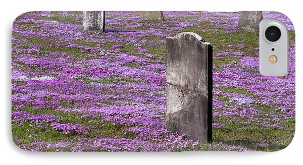 Colonial Tombstones Amidst Graveyard Phlox IPhone Case