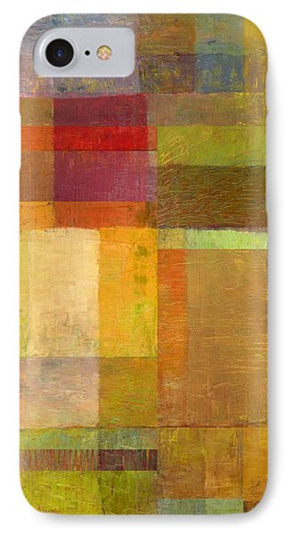 IPhone Case featuring the painting Color Collage With Green And Red by Michelle Calkins