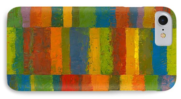 IPhone Case featuring the painting Color Collage With Stripes by Michelle Calkins
