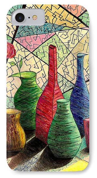 Color Drawing Of Vases With Flower IPhone Case by Mario Perez