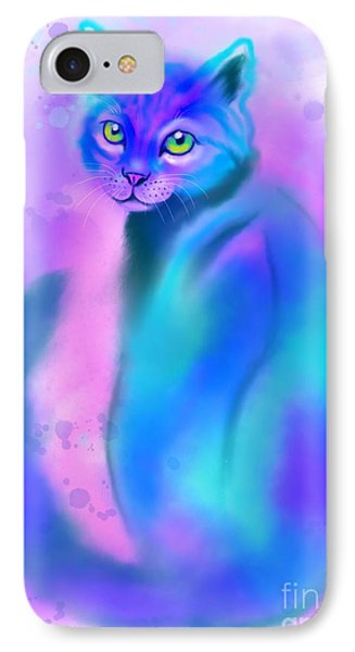 IPhone Case featuring the painting Color Wash Cat by Nick Gustafson