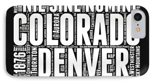 Colorado Black And White Word Cloud Map IPhone Case