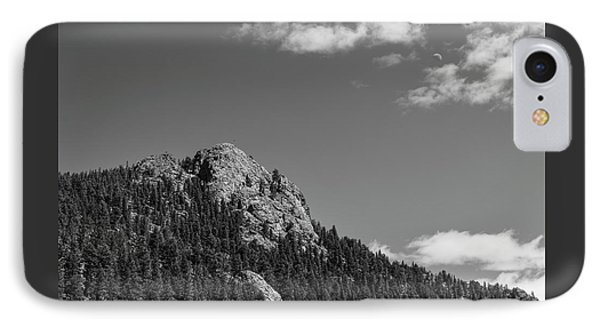 IPhone Case featuring the photograph Colorado Buffalo Rock With Waxing Crescent Moon In Bw by James BO Insogna