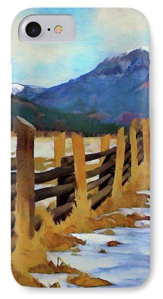 IPhone Case featuring the painting Colorado Fence Line  by Jeff Kolker