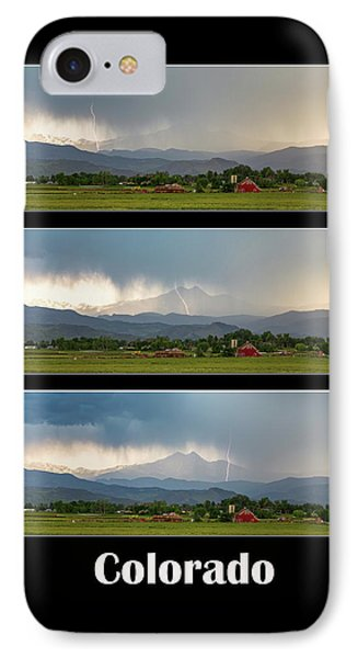IPhone Case featuring the photograph Colorado Front Range Longs Peak Lightning And Rain Poster by James BO Insogna