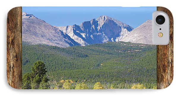 Colorado Longs Peak Rustic Wood Window View IPhone Case by James BO Insogna