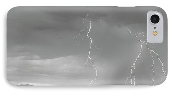 Colorado Rocky Mountains Foothills Lightning Strikes 2 Bw IPhone Case