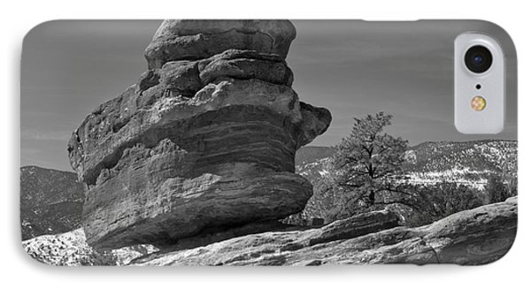 IPhone Case featuring the photograph Colorado Springs Balanced Rock Black And White by Adam Jewell