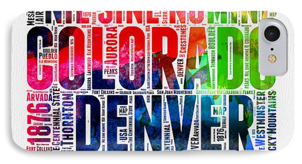 Colorado Watercolor Word Cloud Map  IPhone Case