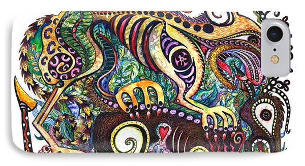 Colored Cultural Zoo D Version 2 IPhone Case by Melinda Dare Benfield