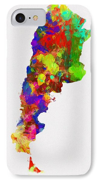 Colorful Argentina Map IPhone Case by Dan Sproul