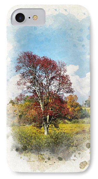 Colorful Autumn Tree Watercolor Art IPhone Case