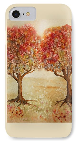 Colorful Autumn Twin Trees Phone Case by Kerri Ligatich