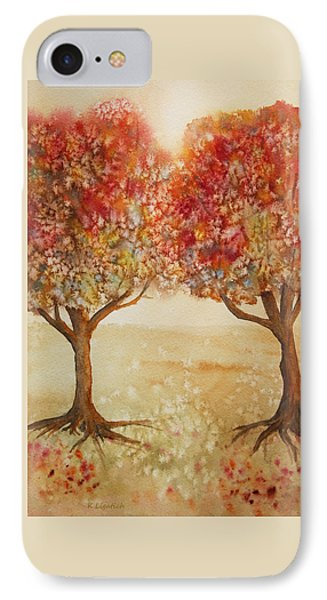 IPhone Case featuring the painting Colorful Autumn Twin Trees by Kerri Ligatich