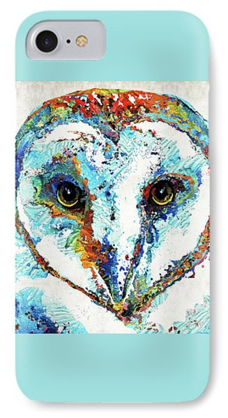 Colorful Barn Owl Art - Sharon Cummings IPhone Case