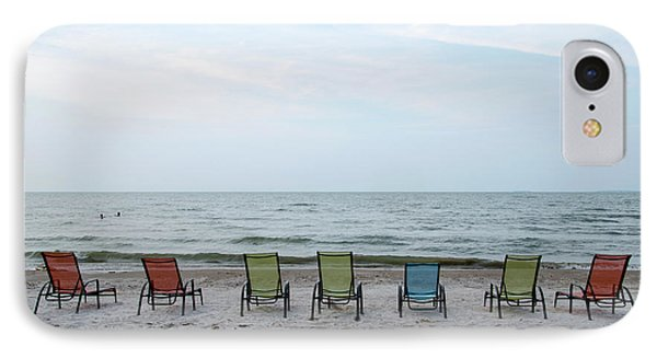 IPhone Case featuring the photograph Colorful Beach Chairs by Ann Bridges