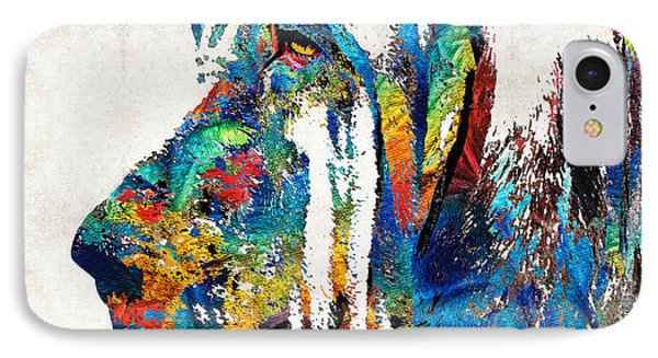 Colorful Bloodhound Dog Art By Sharon Cummings IPhone Case by Sharon Cummings