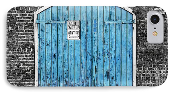 Colorful Blue Garage Door French Quarter New Orleans Color Splash Black And White And Poster Edges IPhone Case by Shawn O'Brien