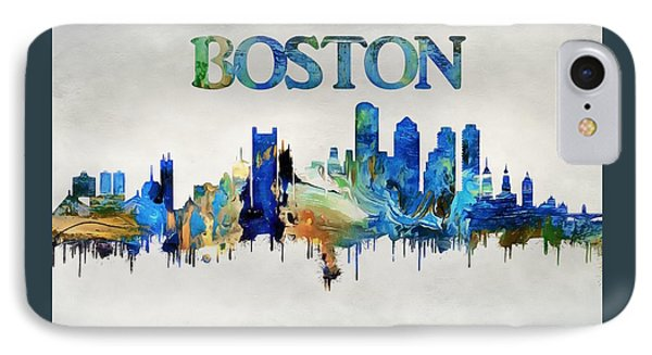 Colorful Boston Skyline IPhone Case by Dan Sproul