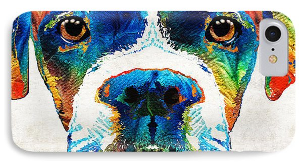 Colorful Boxer Dog Art By Sharon Cummings  IPhone Case by Sharon Cummings
