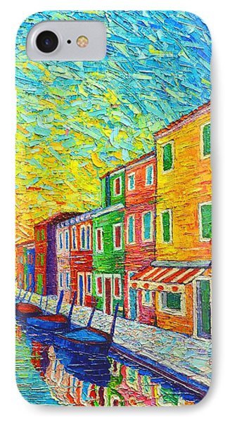 Colorful Burano Sunrise - Venice - Italy - Palette Knife Oil Painting By Ana Maria Edulescu IPhone Case by Ana Maria Edulescu