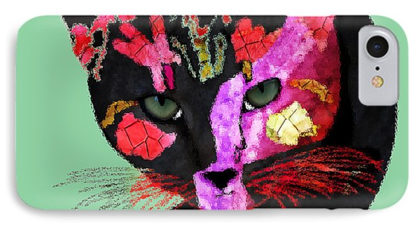 Colorful Cat Abstract Artwork By Claudia Ellis IPhone Case by Claudia Ellis
