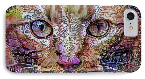Colorful Cat Art IPhone Case by Peggy Collins