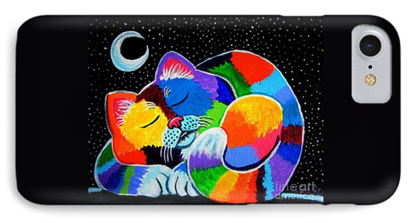 Colorful Cat In The Moonlight Phone Case by Nick Gustafson