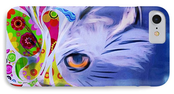 IPhone Case featuring the mixed media Colorful Cat World by Gabriella Weninger - David