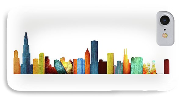 Colorful Chicago Skyline IPhone Case by Art Spectrum