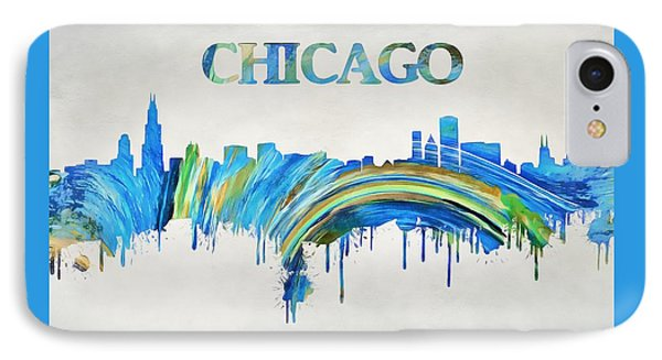 Colorful Chicago Skyline IPhone Case by Dan Sproul