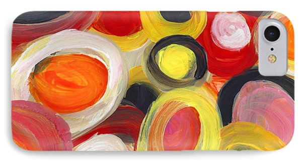 Colorful Circles In Motion Square 3 IPhone Case by Amy Vangsgard