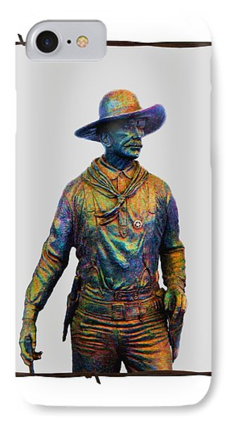 IPhone Case featuring the photograph Colorful Cowboy Sculpture by Ellen O'Reilly