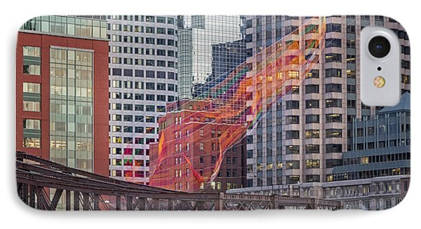 Colorful Fibers Over The Boston Skyline IPhone Case by Susan Candelario