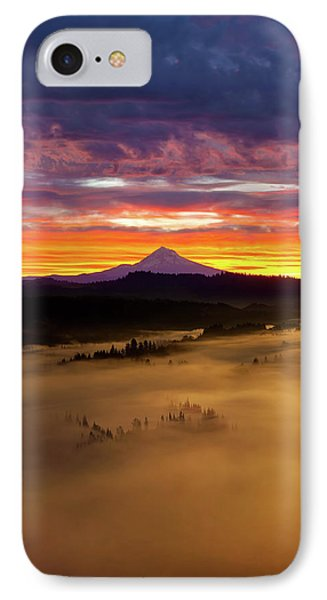 Colorful Foggy Sunrise Over Sandy River Valley Phone Case by David Gn